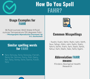 Correct spelling for fahr