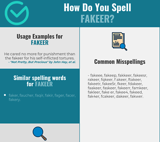 Correct spelling for fakeer