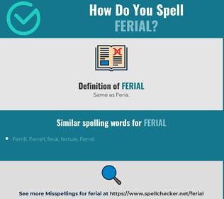 Correct spelling for ferial