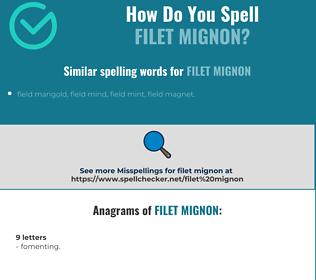 Correct spelling for filet mignon