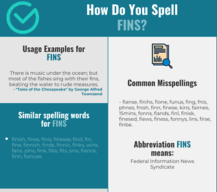 Correct spelling for fins