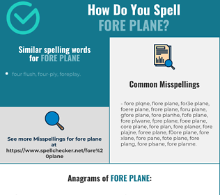 Correct spelling for fore plane
