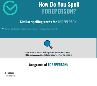 Correct spelling for foreperson