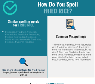 Correct spelling for fried rice