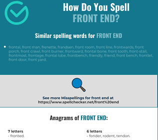 Correct spelling for front end