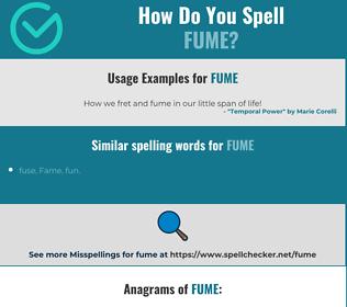Correct spelling for fume