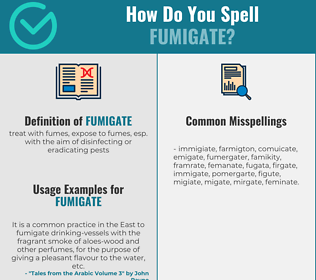 Correct spelling for fumigate
