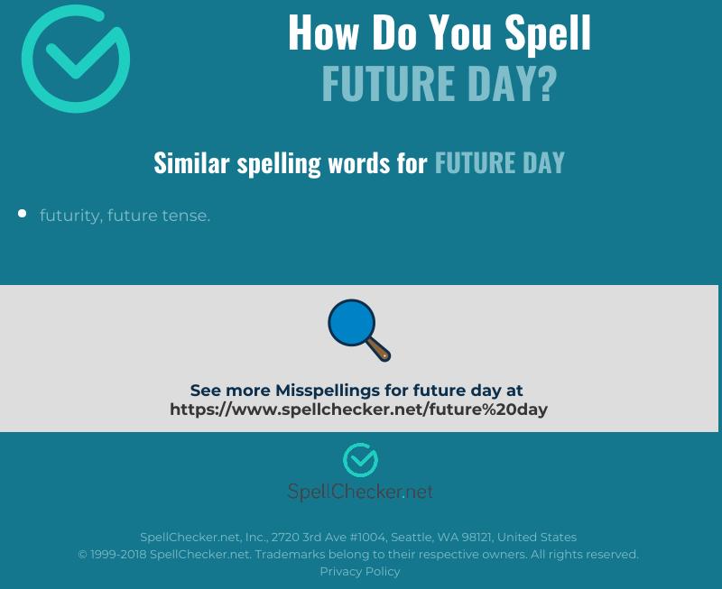 Correct spelling for future day [Infographic]   Spellchecker net