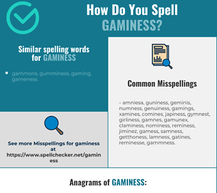 Correct spelling for gaminess