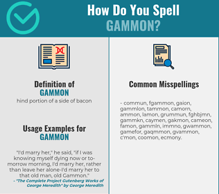 Correct spelling for gammon