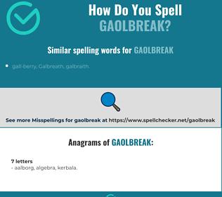 Correct spelling for gaolbreak