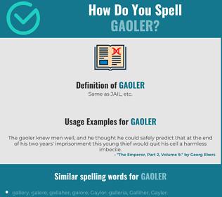 Correct spelling for gaoler