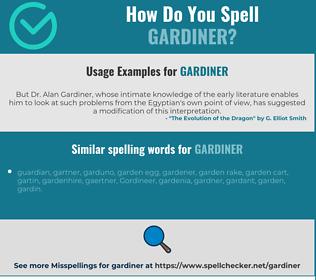 Correct spelling for gardiner