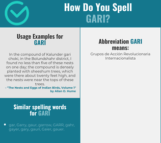 Correct spelling for gari