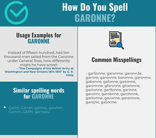 Correct spelling for garonne