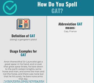 Correct spelling for gat