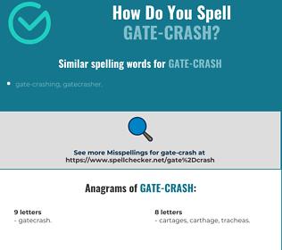 Correct spelling for gate-crash