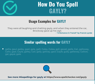 Correct spelling for gayly
