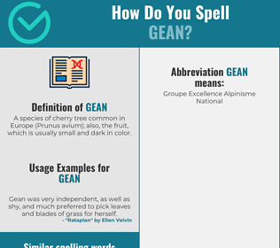 Correct spelling for gean