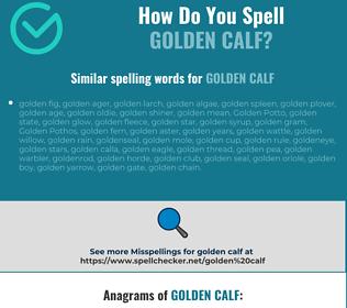 Correct spelling for golden calf