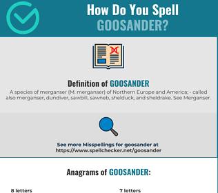 Correct spelling for goosander