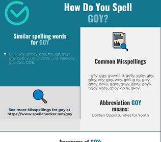 Correct spelling for goy
