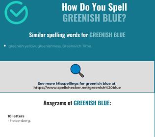 Correct spelling for greenish blue