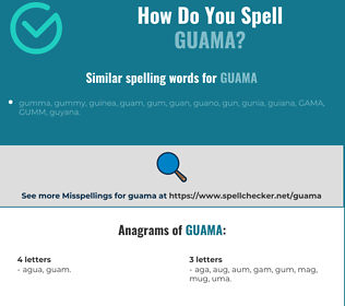 Correct spelling for guama