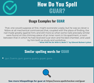 Correct spelling for guar