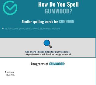 Correct spelling for gumwood