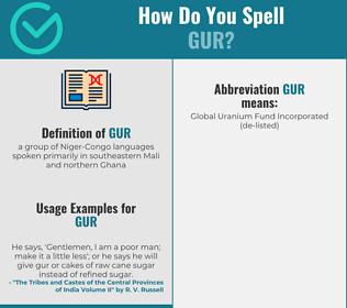 Correct spelling for gur