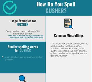 Correct spelling for gusher