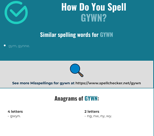 Correct spelling for gywn
