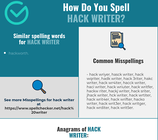 Correct spelling for hack writer