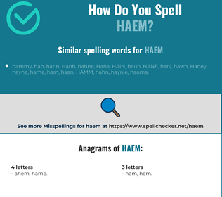 Correct spelling for haem