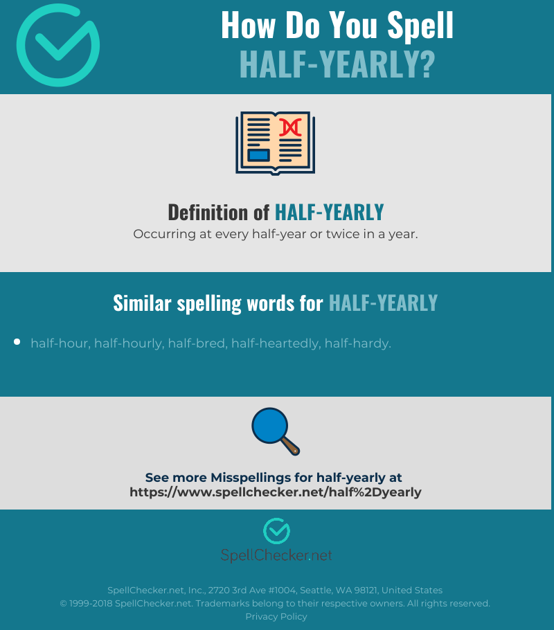 Correct spelling for half-yearly [Infographic] | Spellchecker net