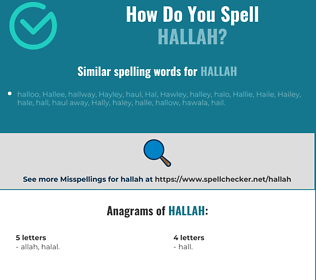Correct spelling for hallah