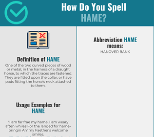 Correct spelling for hame