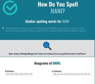 Correct spelling for hani