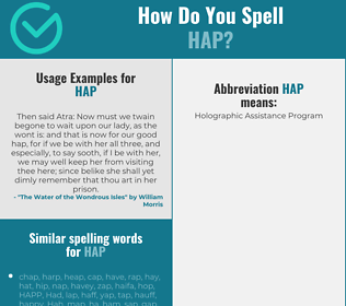 Correct spelling for hap