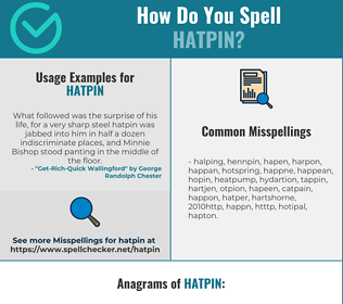 Correct spelling for hatpin
