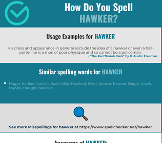 Correct spelling for hawker