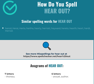 Correct spelling for hear out