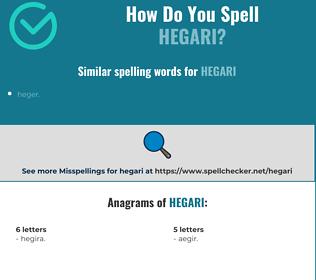 Correct spelling for hegari