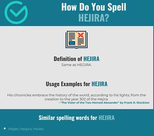Correct spelling for hejira