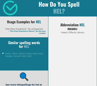 Correct spelling for hel