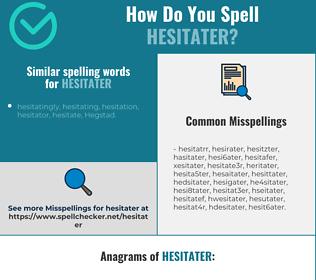 Correct spelling for hesitater