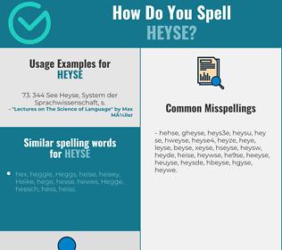 Correct spelling for heyse