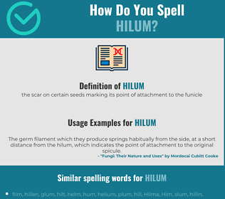 Correct spelling for hilum
