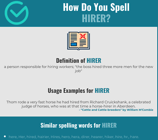 Correct spelling for hirer